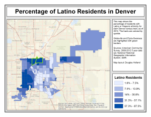 A map of the percentage of Latino residents in Denver. Latinos are more vulnerable to gentrification.